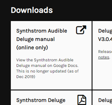 Synthstrom Audible Deluge manual (online only) View the Synthstrom Audible Deluge manual on Google Docs. This is no longer updated (as of Dec 2019)